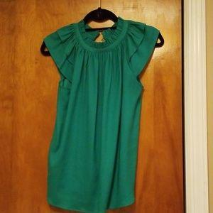 Ann Taylor green cap sleeve shirt